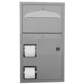 Unità combinata : distributore di carta igienica due rotoli, distributore di coprisedili e contenitore per assorbenti igienici