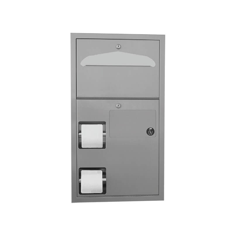 Unidad combinada : dispensador de papel higiénico doble rollo, dispensador de tapa-asientos y recipiente para desechos íntimos