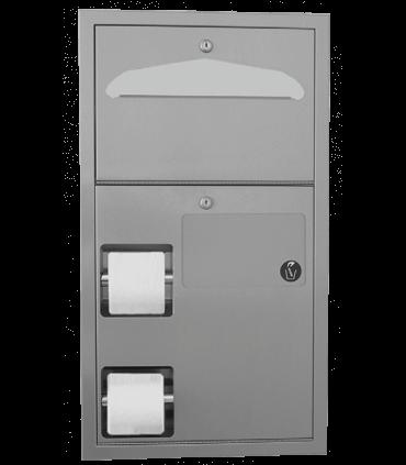 Combo Unit : Double toilet tissue dispenser,br /seat cover dispenser and feminine hygiene waste receptacle