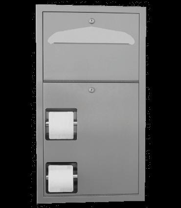 Combo Unit : Double toilet tissue dispenser andbr /seat cover dispenser