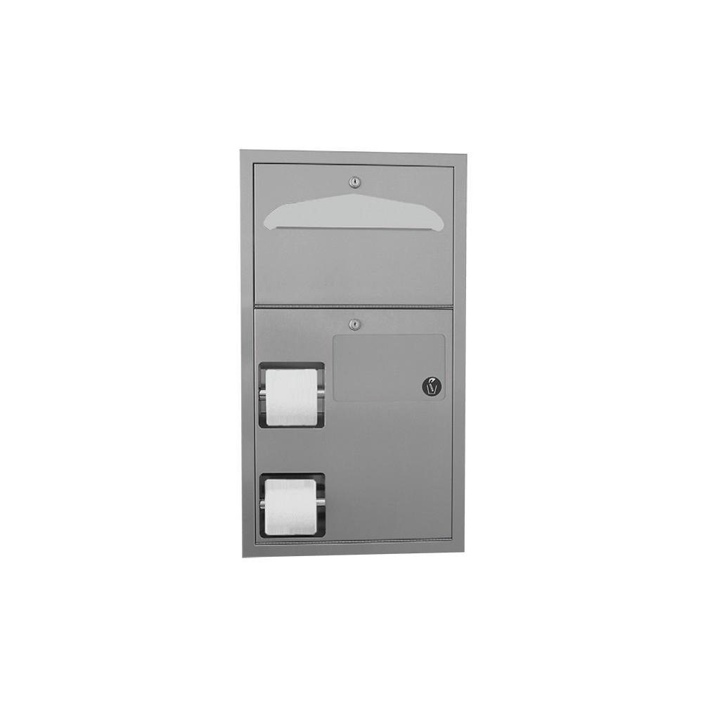 kombination wc papierrollenhalter f r zwei rollen toilettensitzauflagen spender und. Black Bedroom Furniture Sets. Home Design Ideas