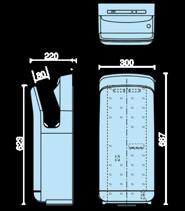 Sèche-mains à air pulsé ultra rapide (sans chauffage)