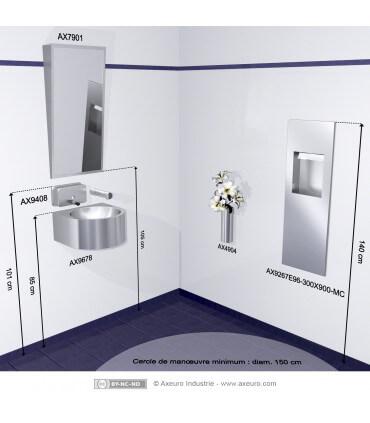 Vasque compacte pour sanitaires PMR