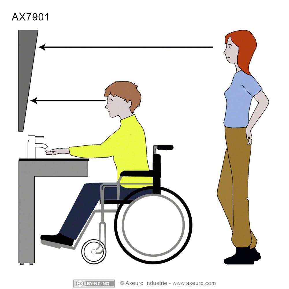 Miroir incliné pour sanitaires handicapés