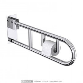 Swing up grab bar with toilet tissue holder