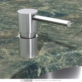 Lavatory-mounted soap dispenser