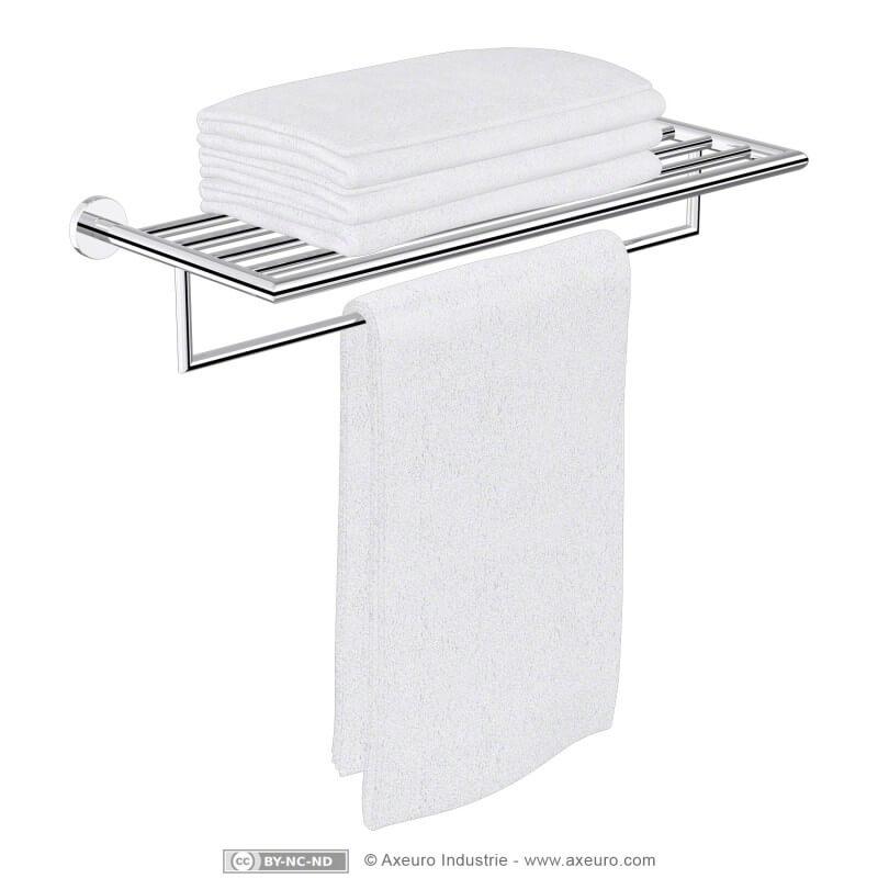 Rack porte-serviette luxe en laiton chromé - longueur 650 mm