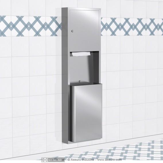 Combiné : distributeur d'essuie-mains et poubelle