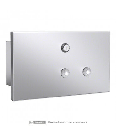 Satin stainless steel soap tank with lock.