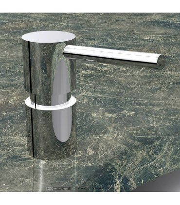 Lavatory-mounted soap dispenser
