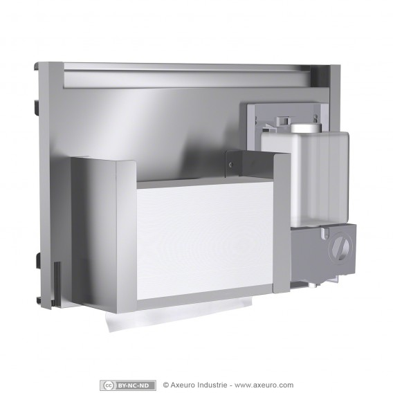 Combiné : distributeur de papier et distributeur de savon, à encastrer derrière un miroir